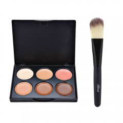 Professional Natural 6 Color Foundation Contour with Powder Brush #1