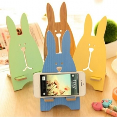 Cartoon Wooden Universal Mobile Phone Smartphone Stand Holder Rabbit Mobile Phone Mount Holder Colour Randomly one size