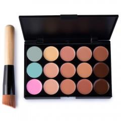 15 Colors Contour Face Cream Makeup Concealer Palette with Makeup Brush 01#