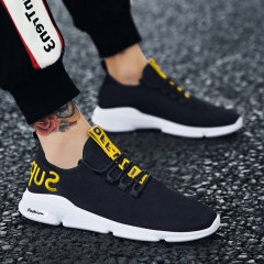 2018 men's shoes, breathed nets, shoes, jogging, running shoes, sports and leisure. black and yellow 40