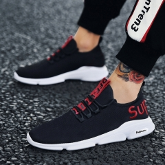 2018 men's shoes, breathed nets, shoes, jogging, running shoes, sports and leisure. black red 39