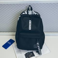 Canvas backpack simple fashion trend backpack female travel bag junior high school student bag black one size