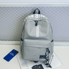 Canvas backpack simple fashion trend backpack female travel bag junior high school student bag gray one size
