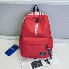 Canvas backpack simple fashion trend backpack female travel bag junior high school student bag red one size