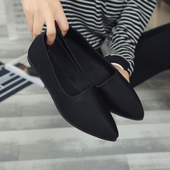 2018 new single shoes female flat-bottomed pointed shoes with simple women's shoes black 37