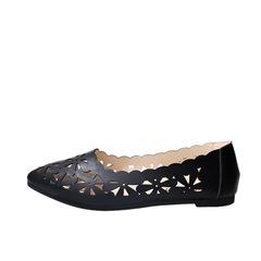 2019 new hollow women's shoes shallow mouth peas shoes wild pregnant women flat shoes tide black 38