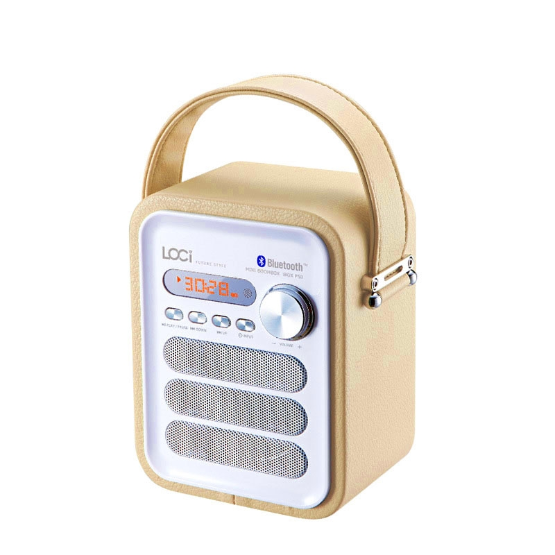 P50 Leather Coated Bluetooth Speaker with FM Radio TF/USB MP3 Player  Portable Music Box Subwoofer yellow 100x100x100mm