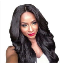 New Fashion Synthetic Body Wave Lace Front Human Hair Wigs Pre Plucked Brazilan Remy Hair Wigs black one size