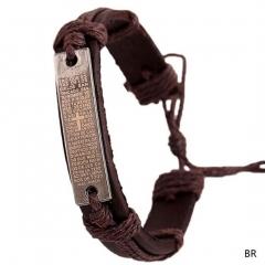 Men Bible Cross Faux Leather Vintage Hemp Charm Bracelet Adjustable Wristband brown 17length 1.2width