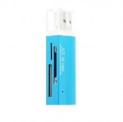 Multi-function All in 1 USB2.0 Memory Card Reader Mini Metal Card Reader blue 68MM