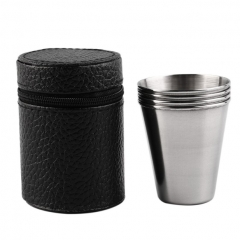 Set of 4 Stainless Steel Camping Cup Mug Drinking Coffee Tea With Case  Wine cup Drinking cup Silver 70ml