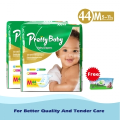 Pretty Baby high count *2 +free wipes 80 pack Green L (8kg-14kg)