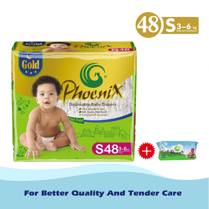 Phoenix Gold High count +baby wipes 80 pack Green S (3kg-6kg)