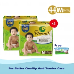 Phoenix Gold High count *2 +free wipes 80 pack Green S (3kg-6kg)