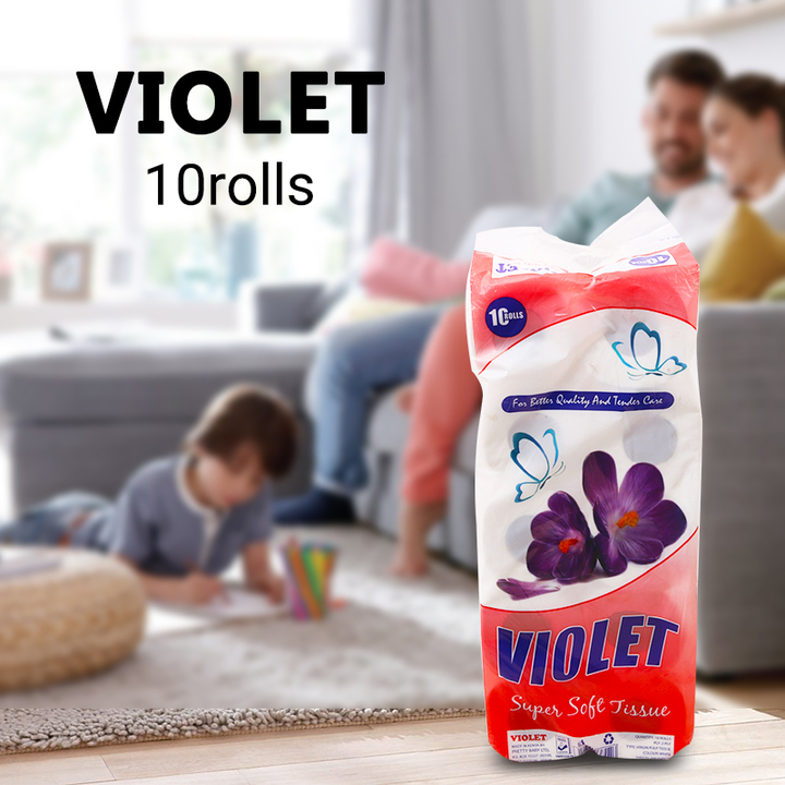 VIOLET Super Soft Tissue Ten Pack White 10 rolls