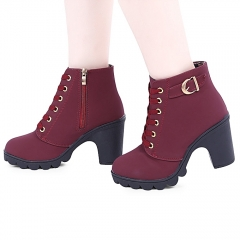 Fashion Stylish Pure Color Lace Up Zipper Decoration Ladies Thick High Heel Ankle Boots red 36