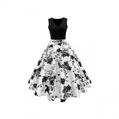 ZAFUL Woman Vintage Print Fit&flare Dress White XL