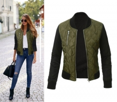 New style pure color fashionable zipper clip cotton jacket women jacket green m