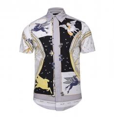 New men's creative stripes 3D printing shirt street youth tide brand fashion shirt 01 M