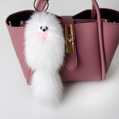 Leather Fox Hair Fox Car Key Ring Pendant Bag Accessories Fashion Gifts,Bag Accessories. White 14CM