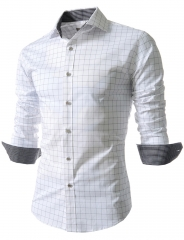Men's Plaid Slim Long Sleeved Shirt Men's Large Size Shirt 001 white m