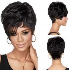 Wig  Female  Short Hair Curly Bangs Fashion Fluffy Natural Invisible Wig Black short hair