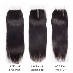 Cici Hair Brazilian Straight Closure 6-18inches 4*4  100% Human Hair   Natural Color free part 6inch