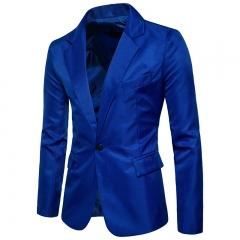 Men's Korean Single-Strap Slim Fit and Solid Color Small Suit Top black m