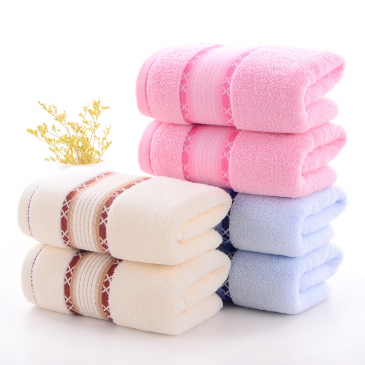 Thick cotton double cloth cotton towel High quality soft face pink 35*75(cm)