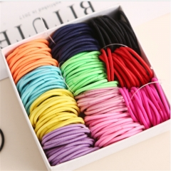 Cute girl ponytail hairpin hair accessories thin elastic rubber band children colorful hair bundle random one size