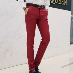 Fashion new casual business suit pants men Korean version of slim casual pants trousers white l