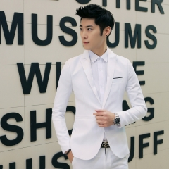 Korean men's solid color casual small suit jacket tide men's clothing white M