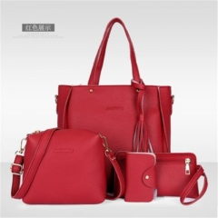 Women's bag 2018 new trend fashion lychee pattern four-piece mother bag slung shoulder bag pink one size