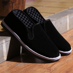 Old Beijing cloth shoes men's handmade thousand layers of bottom shoes casual shoes non-slip shoes Pure black cloth 35 cotton