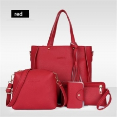 Women's bag 2018 new trend fashion lychee pattern four-piece mother bag slung shoulder bag red one size