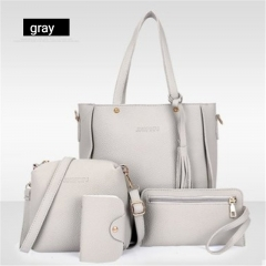 Women's bag 2018 new trend fashion lychee pattern four-piece mother bag slung shoulder bag gray one size