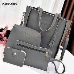 Women's bag 2018 new trend fashion lychee pattern four-piece mother bag slung shoulder bag drak grey one size