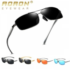 Men's Fashion Accessories New Aolong Aluminum Magnesium Leg Polarizing Sunglasses Men's Color GUN/RED one size