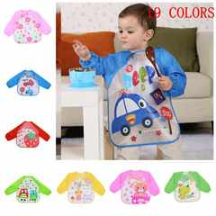 EVA Waterproof Children's Cover, Infant Painting Clothes,  Reverse-Wearing Eating Clothes, Bib pink flower one size