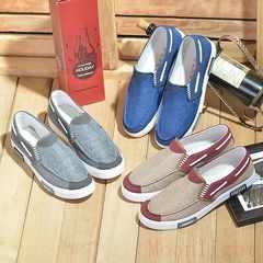Men's Shoes Casual canvas shoes men's breathable one pedal lazy casual trend shoes blue 39