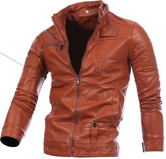 3b26022ff 2018 new autumn and winter men's motorcycle zipper fashion youth casual PU  leather jacket jacket Dark brown xl