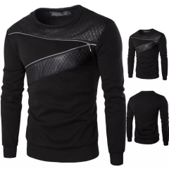 New men's plus size plus fat round neck long-sleeved fashion zipper decoration T-shirts black m cotton