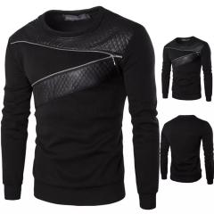 New men's plus size plus fat round neck long-sleeved fashion zipper decoration T-shirts black m cotton