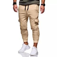 2018 new autumn and winter men's casual fashion tether elastic multi-sports sweatpants khaki xxl