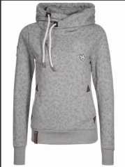New autumn and winter ladies large size loose long sleeve hooded digital printed sweater gray m