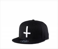 New men and women fashion hip hop hat cross embroidered baseball cap skateboard flat cap black average code