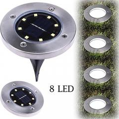 Waterproof 8 LED Solar Outdoor Ground Lamp Landscape Lawn Yard  Underground Buried Night Light black white light