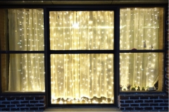 LED curtain lights 3*3 m 304 lights Christmas lanterns lighting  five-pointed star curtain lights warm white 3*3m UK 220v