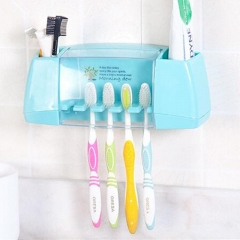 Multifunctional toothbrush holder storage box bathroom Products bathroom  tooth brush holder blue as picture
