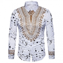 New fashion shirt male creative ethnic floral flower 3D printed shirts white m